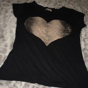 Zara Leopard Heart Tee Shirt